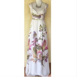 Zara Floral Silk Maxi Dress